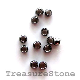 Crimp, black-plated brass, 2x1.5mm round. Sold per pkg of 100.
