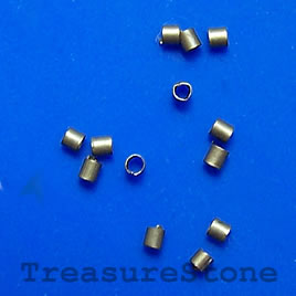Crimp, bronze-plated brass, 2x1.5mm tube, Sold per pkg of 100.