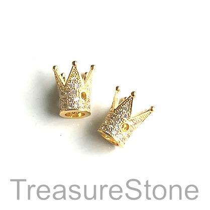 Micro Pave Bead, brass, gold, 12mm crown. Each