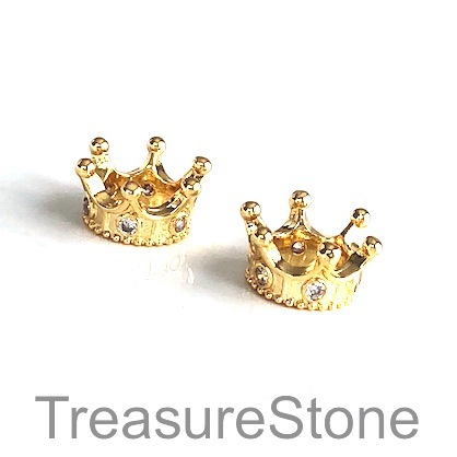 Bead, brass, 7x14mm gold crown with crystals. Each