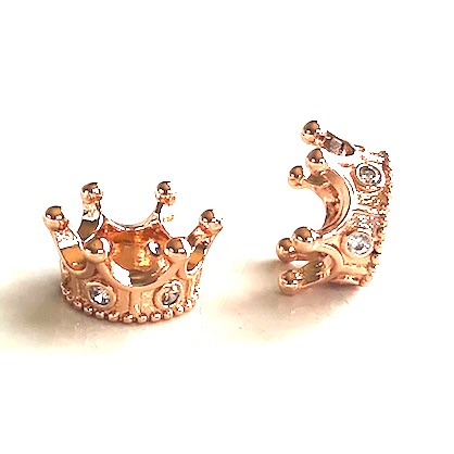 Bead, brass, 7x14mm rose gold crown with crystals. Each