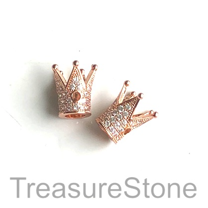 Micro Pave Bead, brass, rose gold, 12mm crown. Each.