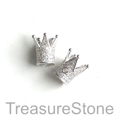 Micro Pave Bead, brass, silver, 12mm crown. Each
