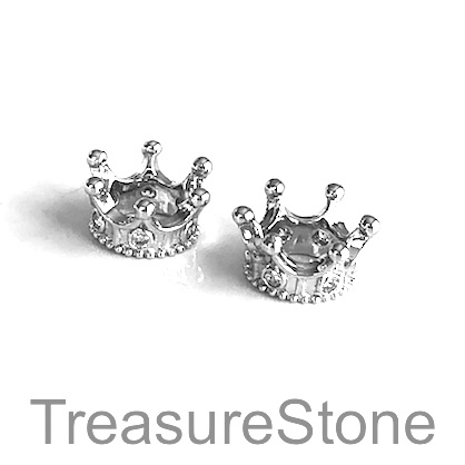 Bead, brass, 7x14mm silver crown with crystals. Each