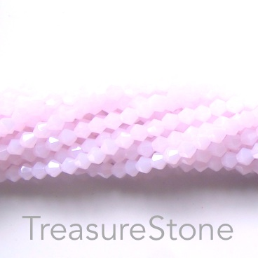 Bead, crystal, Rose Alabaster, 4mm bicone. 17-inch strand