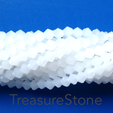 Bead, crystal, white Alabaster, 4mm bicone. 17-inch strand