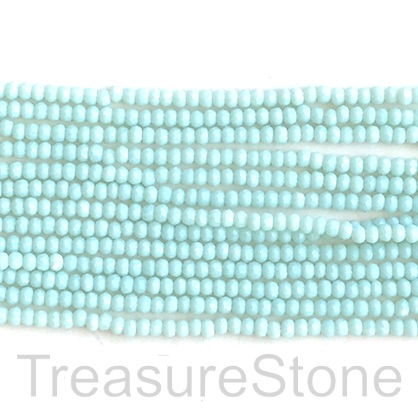 Bead, crystal, amazonite, 2x3mm faceted rondelle. 16""