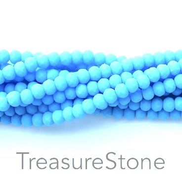 Bead, crystal, baby blue, matt, 3x4mm rondelle, 18-inch