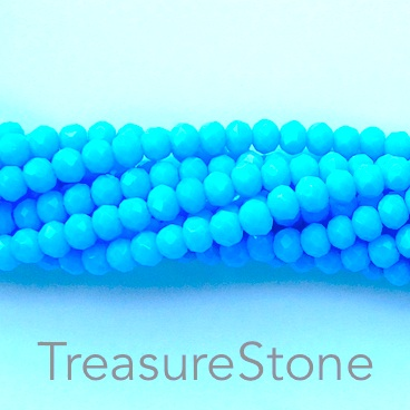 Bead, crystal, baby blue, 3x4mm rondelle, 20-inch