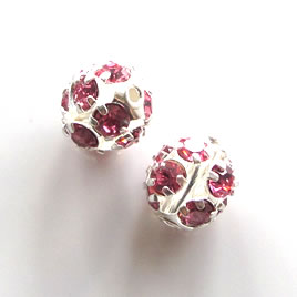 Bead, pink crystal, 10mm round, pkg of 5 pcs