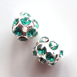 Bead, turquoise crystal, 10mm round, pkg of 5 pcs