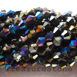 Bead, crystal, black AB2X, 4mm faceted bicone.13inch strand