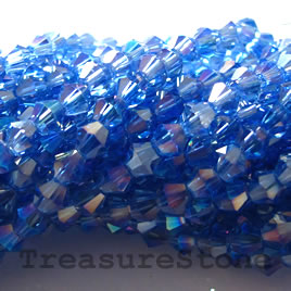 Bead, crystal, blue AB, 4mm bicone.13-inch strand.