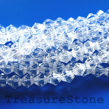 Bead, crystal, clear, 4mm faceted bicone. 17.5 inch strand