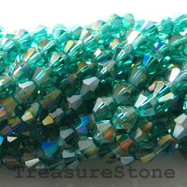 Bead, crystal, green AB, 4mm bicone.13-inch strand.