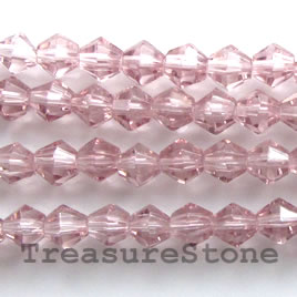 Bead, crystal, light purple, 4mm faceted bicone.12.5-inch strand