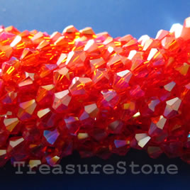 Bead, crystal, orange AB, 4mm bicone.13-inch strand.