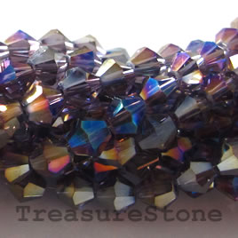 Bead, crystal, purple AB, 4mm bicone. 13-inch strand.