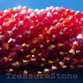 Bead, crystal, red AB, 4mm bicone. 13-inch strand.