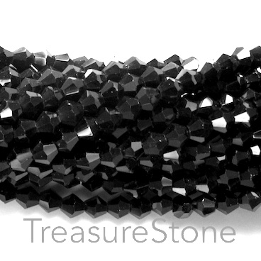 Bead, crystal, black, 4mm faceted bicone. 17.5-inch strand