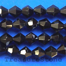 Bead, crystal, black, 6mm faceted bicone. 11.5 inch.