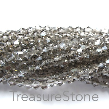 Bead, crystal, black diamond, 4mm bicone. 18-inch strand
