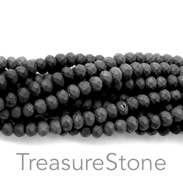 Bead, crystal, black, matt, 3x4mm rondelle, 17.5-inch
