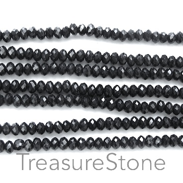 Bead, crystal, black, 1.5x3mm faceted rondelle. 15.5 inch