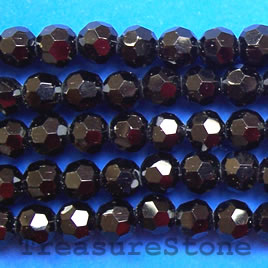 Bead, crystal, black, 4mm faceted Round. 14.5-inch strand