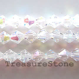 Bead, crystal, clear AB, 8mm faceted bicone. 12.5-inch strand