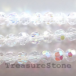 Bead, crystal, clear AB, 6mm faceted round. 11 inch, 49pcs.
