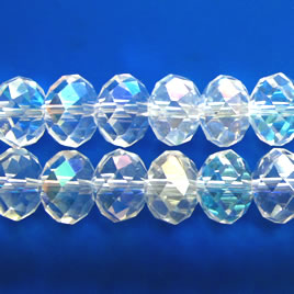 Bead, crystal, clear AB, 9x12mm faceted rondelle. 30pcs.