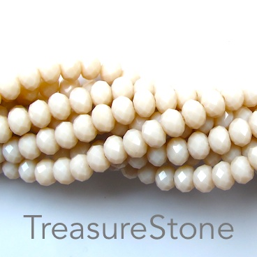 Bead, crystal, cream, 4x6mm rondelle, 17-inch
