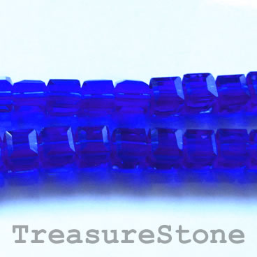 Bead, crystal, cobalt blue, 6mm cube, 11-inch