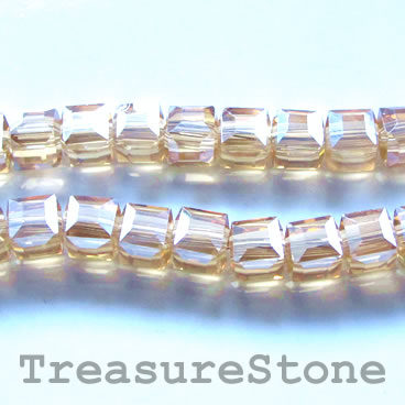 Bead, crystal, gold AB, 6mm cube, 11-inch
