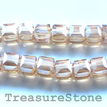 Bead, crystal, gold AB, 8mm cube, 14-inch