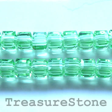 Bead, crystal, green, 6mm cube, 11-inch