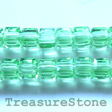 Bead, crystal, green, 8mm cube, 14-inch