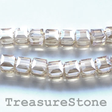 Bead, crystal, grey, 6mm cube, 11-inch