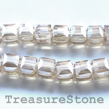 Bead, crystal, grey, 8mm cube, 14-inch