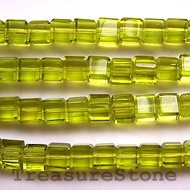 Bead, crystal, peridot, 6mm cube, 14-inch