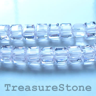 Bead, crystal, light pink AB, 6mm cube, 11-inch