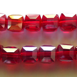 Bead, crystal, red AB, 10mm faceted cube. 30pcs.