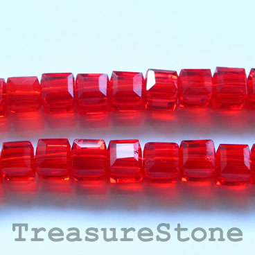 Bead, crystal, red, 6mm cube, 11-inch