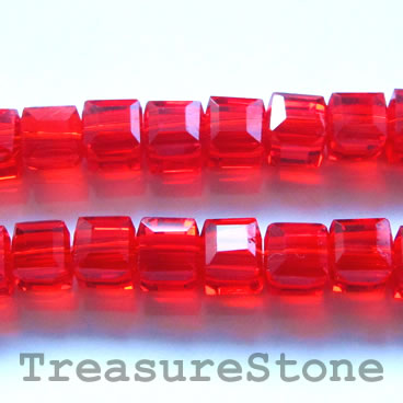 Bead, crystal, red, 8mm cube, 14-inch