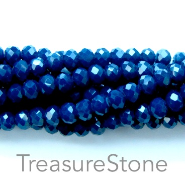 Bead, crystal, dark navy blue, 3x4mm rondelle, 18-inch