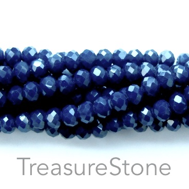 Bead, crystal, dark navy blue, 6x8mm rondelle, 16-inch, 68pcs
