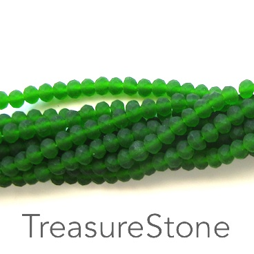 Bead, crystal, emerald, matt, 3x4mm rondelle, 18-inch