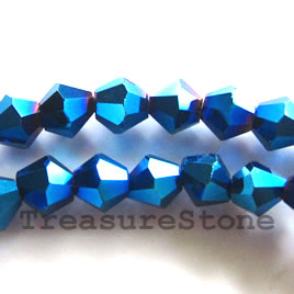 Bead,crystal, metallic blue, 4mm faceted bicone.18.5-inch strand