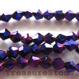 Bead, crystal, metallic purple, 4mm faceted bicone.18.5-inch